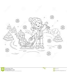 coloring page outline of cartoon with brother sledding