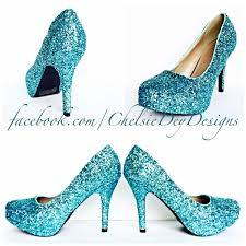 robins egg blue high heels glitter high heel closed toe pumps