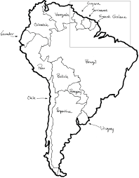 map of south america labeled with countries and capitals north