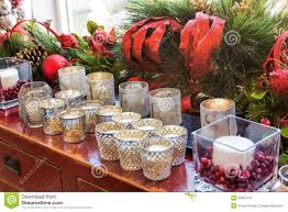 christmas decorations with candles royalty free stock photo