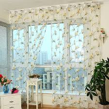 Floral Curtains Discount Gauze Yellow Floral Pattern Sheer Curtains