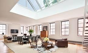 Open Living Floor Plans Living Room Living Room With Skylights Open Ceiling Brown Sofa