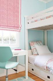 Girls Bedrooms With Bunk Beds Pink And Blue Bedroom With White Bunk Beds Transitional