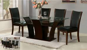 Rectangular Glass Dining Table Wood Base Overstock The Marion - Glass dining room table bases