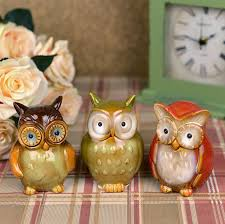 ceramic owl figurine set set of 3 pieces decorative pottery