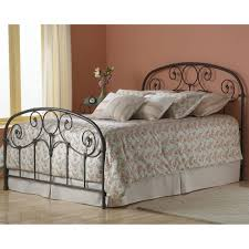 Black Wrought Iron Bed Frame Curved Wrought Iron Headboard With Tribal Ornament On Railings For