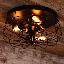 industrial flush mount ceiling lights industrial loft metal cage three exposed bulbs semi flush mount