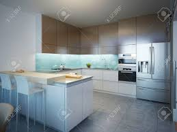 contemporary kitchen idea of contemporary kitchen kitchen with white and brown matt