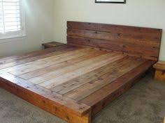 free headboard floating rustic wood platform bedframe with