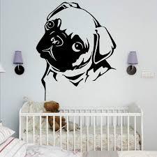 pug home decor aliexpress com buy removable waterproof pet pug dog vinyl wall