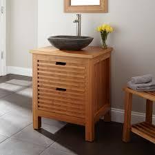bathroom decoration using square solid light brown bamboo bathroom
