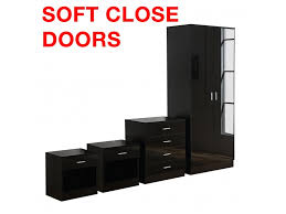 Black High Gloss Bedroom Furniture by Gladini Black High Gloss 4 Piece Bedroom Furniture Set Wardrobe