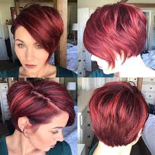 red highlights layered side swept pixie pixies u0026 short hair cuts