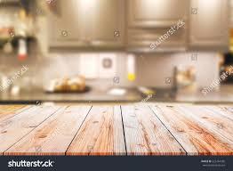 Empty Kitchen Empty Wooden Table Blurred Kitchen Background Stock Photo