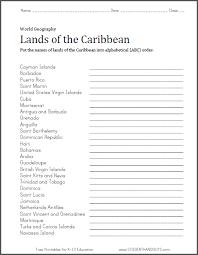 caribbean lands in abc order worksheet