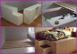 ikea hack diy platform bed with storage out of kitchen cabinets