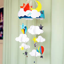 sewing soft baby bed ornaments handmade diy toys cloud moon