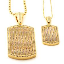 tag necklace mens images Men 39 s 14k gold dog tag cz necklace streetwear jewelry king ice jpeg