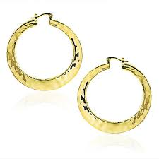 hammered hoops large hammered hoop earrings high polished 2in