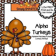 alpha turkeys low prep thanksgiving themed letter matching activity