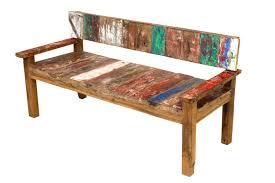 distressed wood bench with back bench decoration