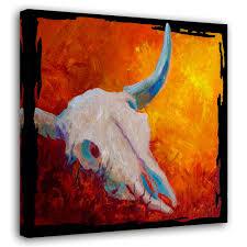 living room home decor animal cattle texas longhorn skull giclee