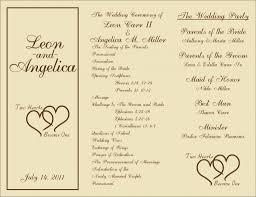 wedding ceremony programs exles wedding ideas wedding party program creatorswedding template