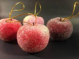4 vintage beaded sugared faux fruit ornaments apples