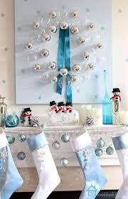 White Christmas Tree With Blue Decorations Remodelando La Casa Blue Christmas Mantel