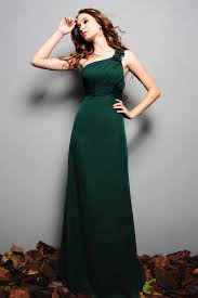 buy tailor made one shoulder chiffon full length dark green