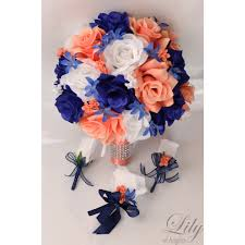 royal blue boutonniere coral blue navy royal white bouquets corsages boutonnieres