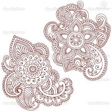henna flower paisley pattern design
