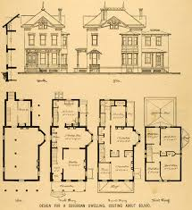 Floor Plan Mansion Vintage Victorian House Plans 1879 Print Victorian House