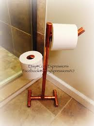 wooden toilet paper holder stand bathroom ideas standing copper toilet paper holder by cozyexpressions on etsy