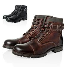 lace up motorcycle boots jack u0026 jones footwear men u0027s lace up boots booties albany genuine