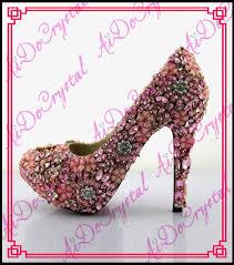 princess wedding shoes shop aidocrystal fashion sweet pink thin high hees