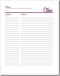 free recipe page printable for half sheet binders tidy tangle