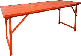 Heavy Duty Folding Table with Orange Vintage Wood W Heavy Duty Steel Frame Folding Table