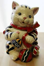 details about signature home collection christmas kitty cookie jar