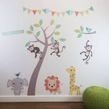 pastel jungle animal wall stickers wall sticker pastels and lovely pastel jungle animals with tree wall stickers our fabulous pastel jungle animals with tree
