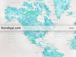 Printable World Map Custom Quote Aquamarine Watercolor Printable World Map With