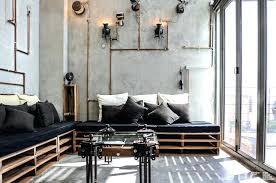 canapé style industriel interieur industriel salon de style industriel jaune pour