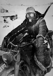 german motorcycle courier in russia 1942 riding on an exposed