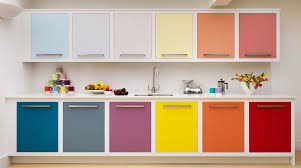 colourful kitchen cabinets multi coloured linear kitchen harvey jones homes alternative