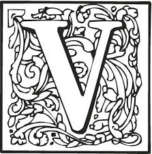 letter v with ornament coloring page free printable coloring pages