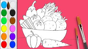 how to draw fruits and vegetables and coloring pages for kids