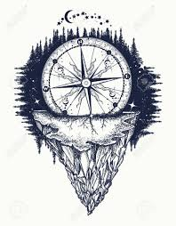 mountain antique compass and wind rose tattoo art adventure