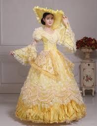 renaissance halloween costumes 100 real carnival yellow lace belle ball gown with hat medieval