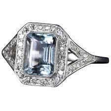 aquamarine diamond ring aquamarine diamond ring deco 2 5 carat emerald cut aquamarine