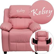 Recliner Chair For Child Personalized Deluxe Padded Pink Vinyl Recliner With Storage